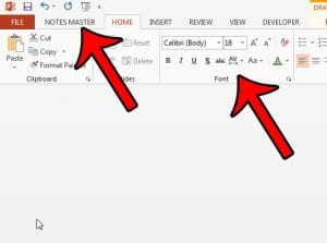 how to change the font for speaker notes in powerpoint 2013