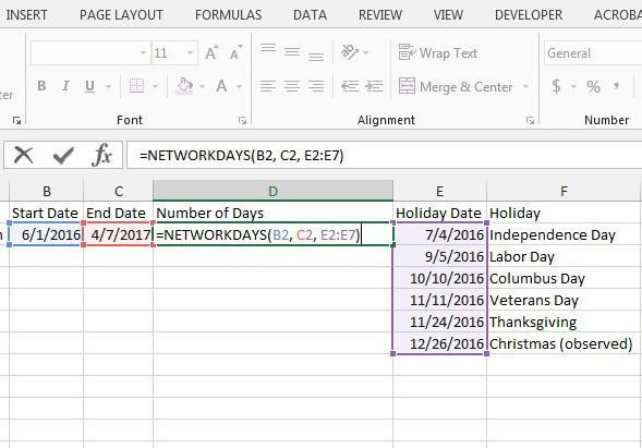 enter the formula to count the number of workdays