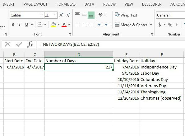 how to find the number of workdays between two dates in excel
