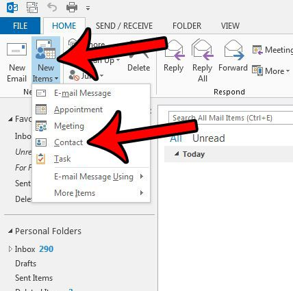 create a new contact in outlook 2013