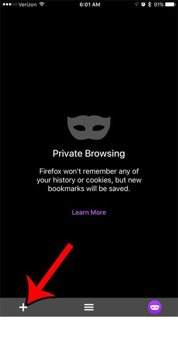 how to do firefox private browsing on an iphone