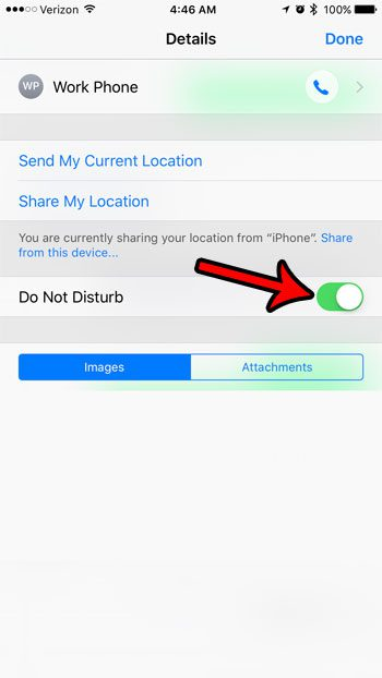 how to stop text message notifications from a single person on an iPhone