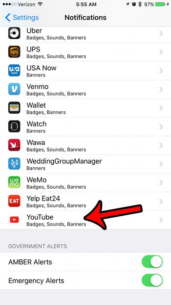 how to stop youtube iPhone notifications