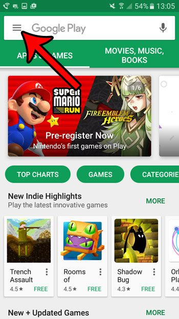 open the play store menu