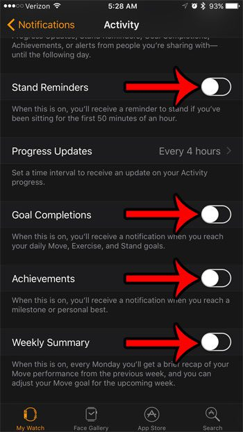 how to turn off activity notifications on the apple watch