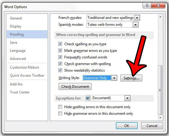 open the grammar settings menu