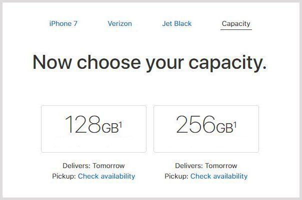 iphone 7 not available in every size in every color
