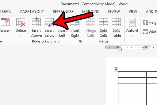 how to add a row to a table in word 2013