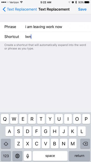 how to make a text message shortcut on an iphone 7