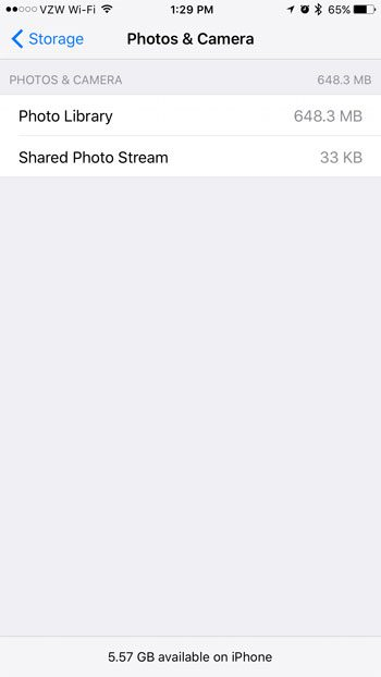 how to view iphone picture storage usage