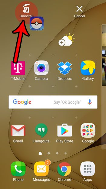 remove app from home screen on samsung galaxy on5