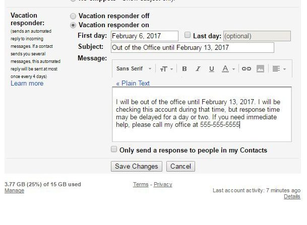 how to set an out of office reply in gmail