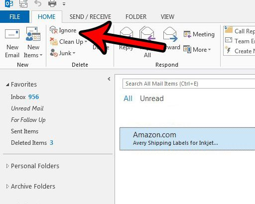 automatically move emails in a conversation to the trash folder in outlook 2013