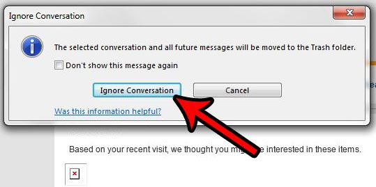 how to ignore an email conversation in outlook 2013