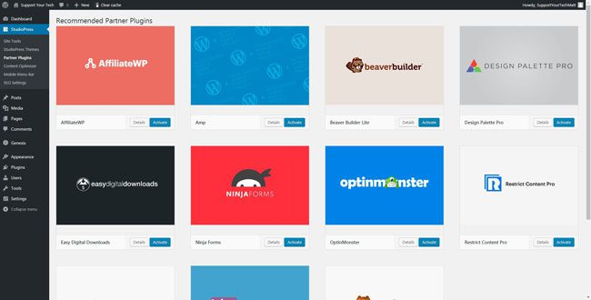 what partner plugins are available for studiopress sites
