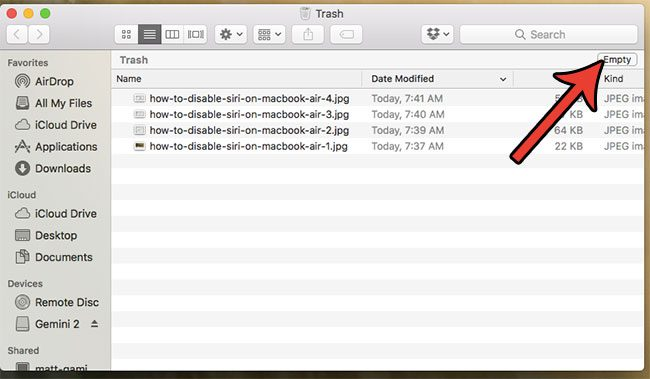 how to delete all the items in the macbook air trash