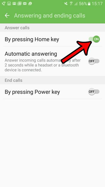 answer incoming calls with the home button on the galaxy on5