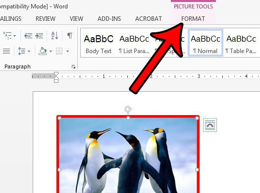 change picture border appearance in word 2013