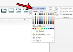 how to change the color of a picture border in word 2013