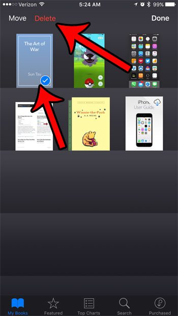how to remove a book from ibooks on an iphone