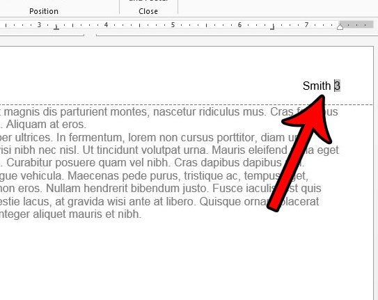 how to repeat the last name and page number at the top of each page in word
