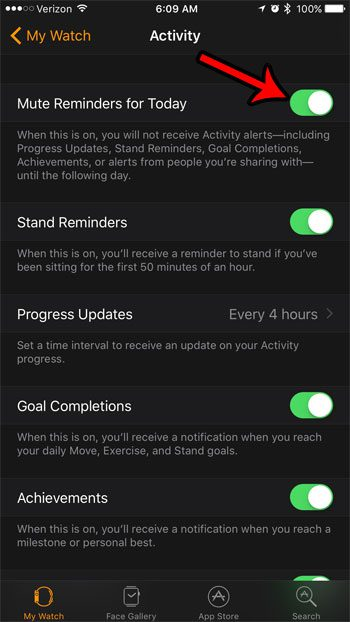 how to mute apple watch activity alerts