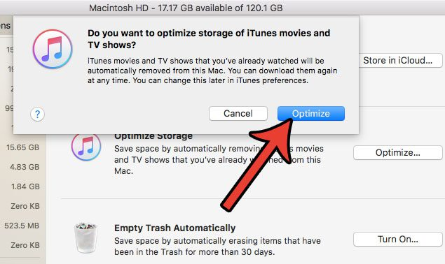 how to optimize itunes storage on a macbook air