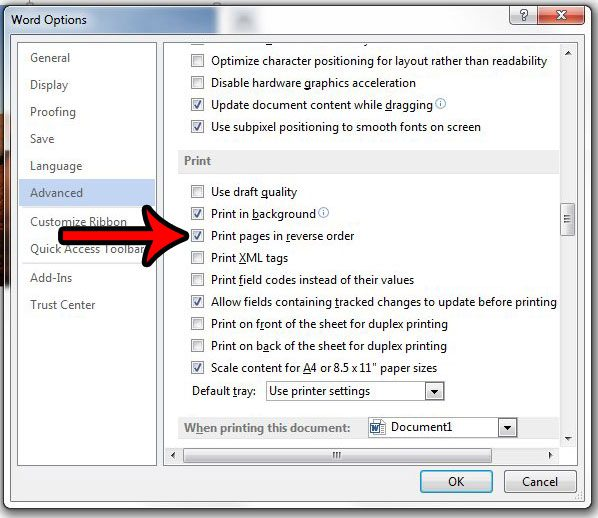 how to print the last page first in word 2013