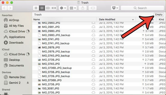 how to delete all trashed files on a macbook air