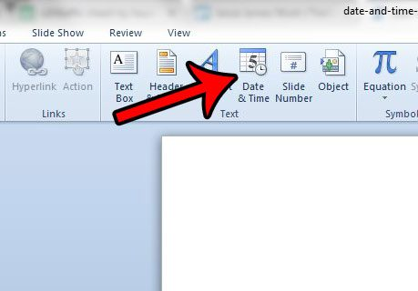 date and timestamp on powerpoint slideshow