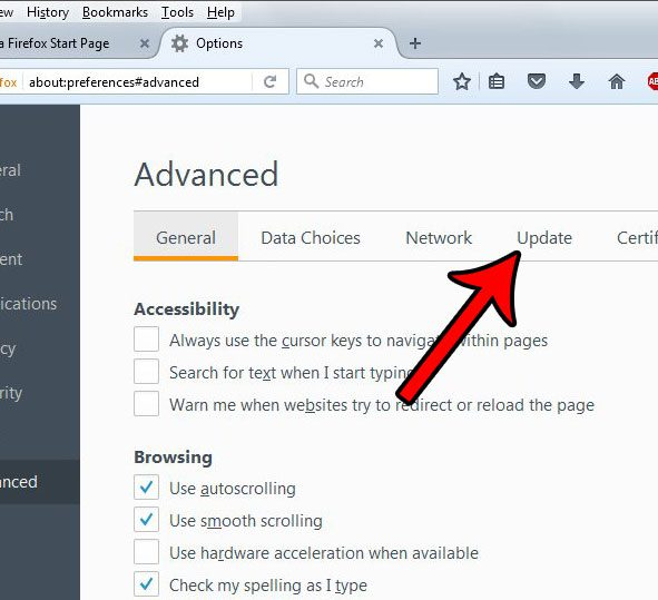 how to change the update settings in the firefox desktop browser