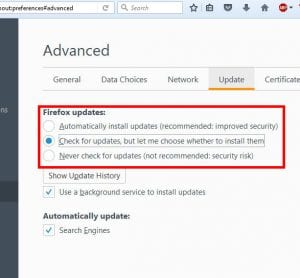 how to stop firefox from updating automatically