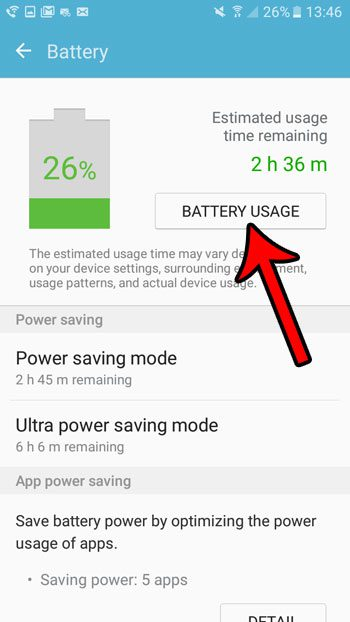 how to see battery usage by samsung galaxy on5