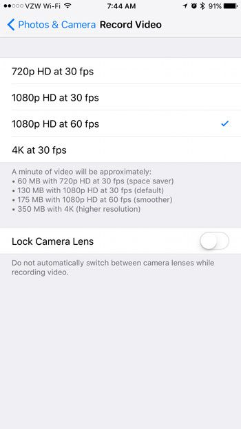 how to change recorded video resolution on iphone 7