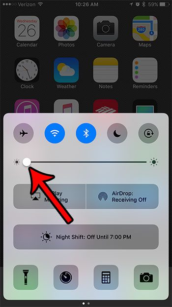 lower the iphone 7 screen brightness