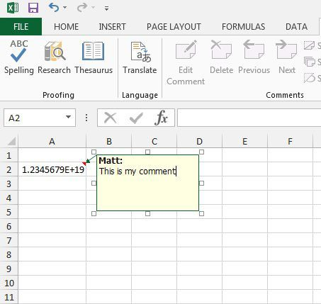 how to comment in excel 2013