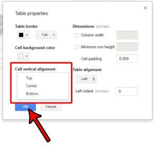 how to change cell vertical alignment in google docs