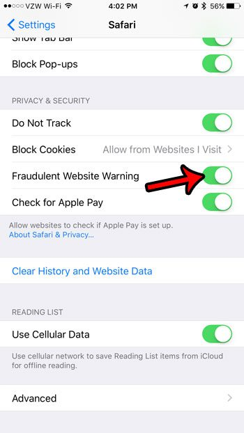 how to turn on the anti phishing filter on an iphone 7