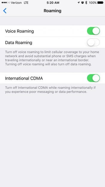 where are the iphone roaming settings in ios 10
