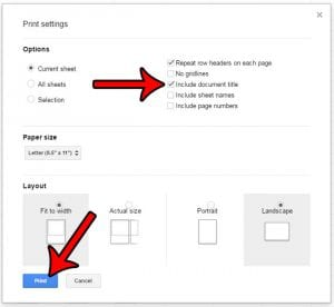 how to print the document title in google sheets