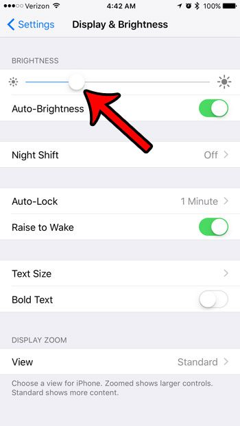 how to reduce brightness on the iphone 7