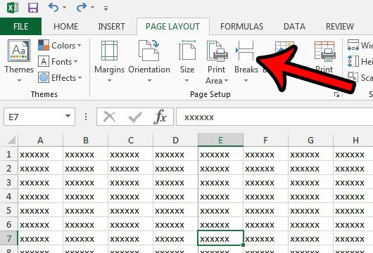eliminate a vertical page break from a spreadsheet