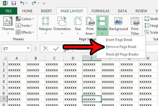 how to remove a vertical page break in excel 2013
