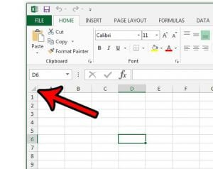 how to select the entire spreadsheet in excel 2013