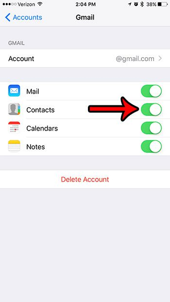 turn off contact sync for an iphone email address