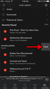 how to delete recently played songs spotify iphone