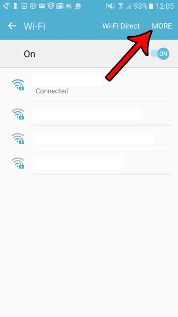 tap the more button on android wifi screen