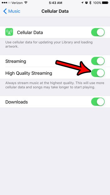 How to Turn on High Quality Cellular Streaming for Music on