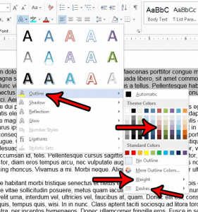 how to outline text in word 2013