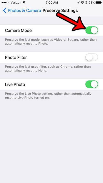 how to preserve camera settings on an iphone 7